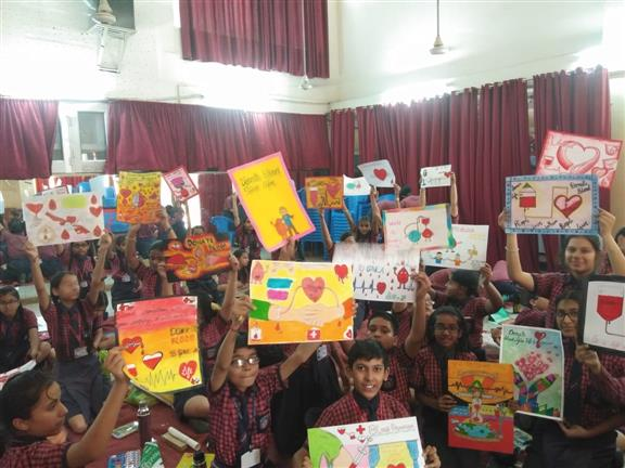 INTER HOUSE BLOOD DONATION POSTER MAKING COMPETITION AT AKSIPS 41 | AKSIPS 41 Chandigarh
