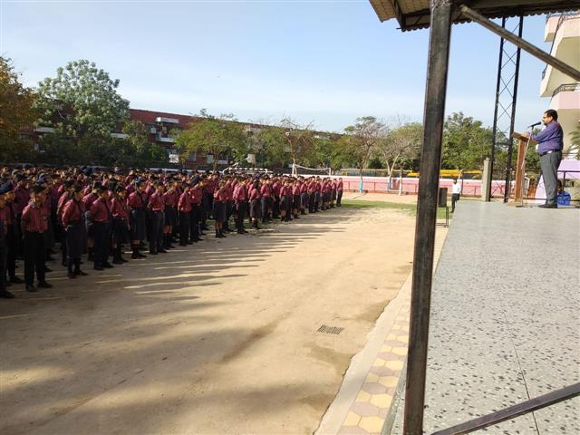 A special assembly was conducted by the students of Class X of AKSIPS 41 Smart School to welcome all the students for the beginning of the new session 2019-20. | AKSIPS 41 Chandigarh