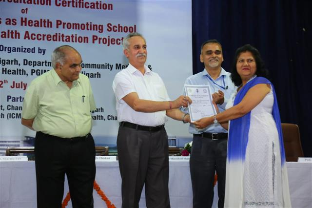 AKSIPS 41 Smart School added another feather to its cap by being awarded the certificate of Accreditation under Gold Category for promoting health in school.  The award was presented to the Principal Ms. Ritu Bali by the District Education officer, U.T., Mr. B. D. Sharma. The School Health Accreditation project is an endeavour of Education Department U.T. which assesses and categorises accreditation according to health promoting schools in Chandigarh (Govt. & Private). The achievements of the sc | AKSIPS SECTOR-41 CHANDIGARH
